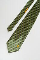 Vintage Yves Saint Laurent Olive silk tie with logo Mens Tie