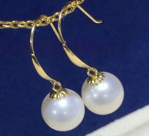 TOP 8.2mm AAA+ Perfect Round White Akoya pearl Dangle Earring Solid Yellow Gold