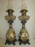 2 Grandes Lampes Pétrole 19e,H74cm Faience signée Ulysse,Blois/Gien,Hinks duplex