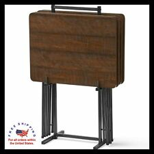 5-Piece Tray Table Set Folding Wood TV Game Snack Dinner Laptop Stand Brown