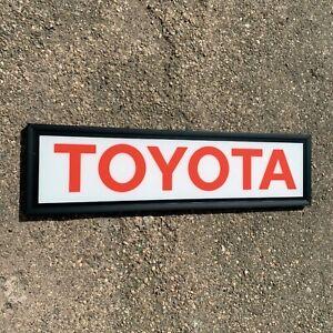 TOYOTA LED ILLUMINATED WALL LIGHT UP SIGN GARAGE AUTOMOBILIA GAS & OIL STATION