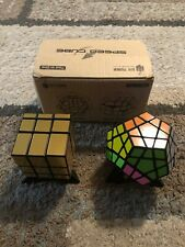 JoyTown Bundle Pack Speed Cube Set of 2 Megaminx Speed Cube - Gold Mirror Cube