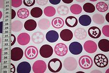 Hilco  Jersey Stoff Love Peace lila  1m