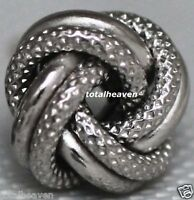 "Classic Italian LOVE KNOT Solid 14K White Gold 10mm=0.39"" Stud Earrings 1.8g NEW"