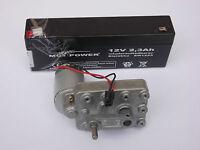 Getriebemotor Gleichstrom Motor 6 -12V Elektromotor mit Kurbel + Akku 12V 2,3Ah