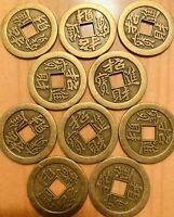10 pieces Chinese Brass Dragon Coin Qing Dynasty Antique Vintage Currency Cash