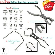 Dental Rubber Dam Kit Clamp Forceps Brewer Ainsworth Punch Plier Clamps & Frames