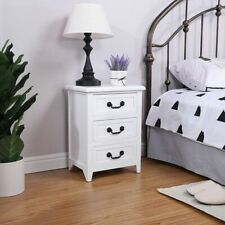 Nightstand End Table Bedroom Storage Wood Side Bedside White W/3 Drawer