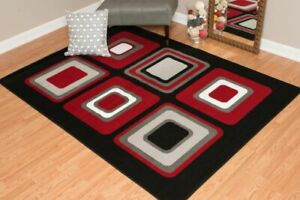 RED/BLACK BLOCKS BACK IN STOCK 5X8 MODERN AREA RUG FOR THE HOME NEW