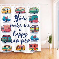 Make Happy Camper Waterproof Fabric Shower Curtain Bathroom Drapes Panel w/Hooks