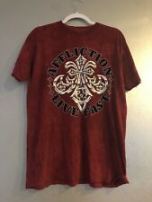 NWT AFFLICTION LIVE FAST Red Men`s T-shirt Felt Distressed MEDIUM M Reversible