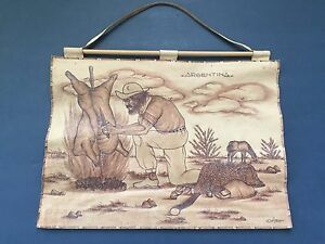 Argentina Folk Leather Wall Hanging Art Hand Tooled Hunting Roast Food on Fire