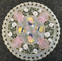 """2 Pcs 14"""" Round Easter Embroidered Chicken Egg Doily Doilies Holiday Party Decor"""