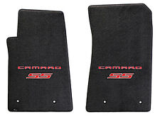 NEW! BLACK FLOOR MATS 2014-2015 Camaro Embroidered Logo & SS in Red 2 pc SET