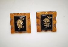 "Unique Vintage Roman Soldier Lucite Cameo Carved Wood 3/4"" Cufflinks"