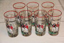 7 Art Deco Libbey Pickwick Dickens Highball Glass Set