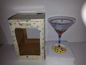 HANDPAINTED HAPPY BIRTHDAY-10 oz. MARTINI GLASS-MULTICOLORED-NEW IN BOX