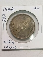 Coin - India - 1942- AU - 1 Rupee with Dot - .5 Silver