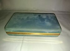 Vintage Baby Blue Velvet Jewelry Box with (3) Removable Pouches and Secure Flap