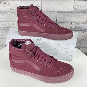 Vans High Top Skate Mens Size 8.5 Sneakers Shoe Women's 10 Maroon Canvas