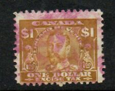 """Canada, $1 gold """"Excise Tax"""" revenue/fiscal stamp used."""