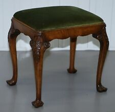 STUNNING VICTORIAN HAND CARVED CABRIOLET LEG STOOL WITH GREEN VELOUR SEAT PAD