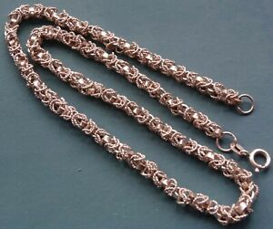 vintage 925 STERLING SILVER fancy textured rope chain necklace -N59