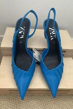 Zara Asymmetric Electric Blue Leather Sling back High Heel Shoes- Size 5 38