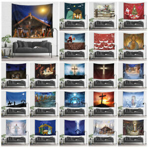Manger Nativity of Jesus Xmas Cross Tapestry Wall Hanging Living Room Bedroom