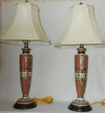 Pair Bombay Company Porcelain Table Lamps Ornate Design Red Black White