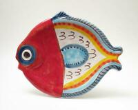 VINTAGE DESIMONE ITALIAN POTTERY FISH SHAPED PLATE SIGNED RETRO