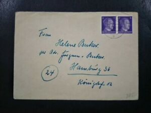 1944 Germany Cover - Adolf Hitler 6c Stamp x2 horizontal pair