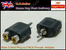 2 x Male 3.5mm Plug Earphone to 2 RCA Female Jack Converter Adapter