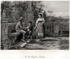 ROMA: Famiglia di Zampognari: LEZIONE DI ZAMPOGNA. ACCIAIO. Stampa Antica. 1878
