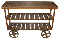 INDUSTRIAL CONSOLE TABLE IRON WHEELS SHELVES SHABBY CHIC SOLID ACACIA WOOD