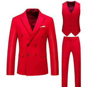 Mens Business Suits 3PCS Double Breasted Blazer Straight Pants Slim Fit Casual
