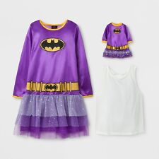 """Batgirl Girls Nightgown with 18"""" Doll Gown Set Size 10-12 Medium"""
