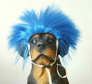 Dog Costumes colorfull synthetic hair pet wig lovely pet dog wigs Blue TP31