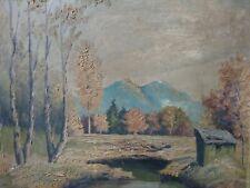 altes Gemälde Alpen Vorland Oberland Berge ca. 40x46 cm sig. Widmann?