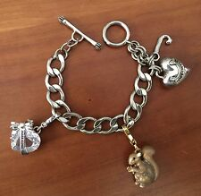 Silver Tone Juicy Couture Curb Link Charm Bracelet 3 Charms Squirrel Hearts