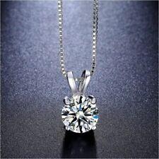Solitaire Swarovski Crystal Princess Necklace in 18K White Gold