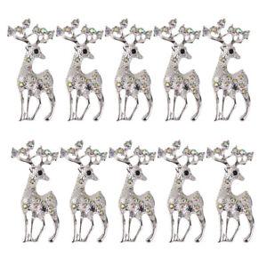 10pcs Christmas Reindeer AB Rhinestone Embellishments For Brooch Pin DIY