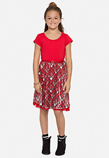 Justice Girl's Holiday Knit & Plaid Sequin Belted Dress Size 10 NWT $49.90