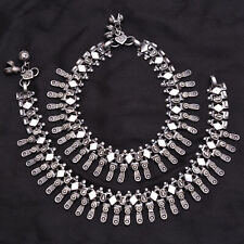 Antique Oxidised Bollywood Tribal Jewelry Indian Ethnic Anklet Pair Payal Silver