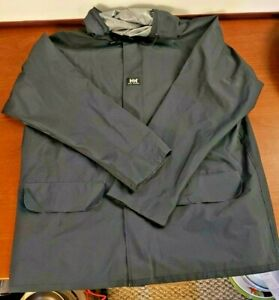 Helly Hansen Mens Hooded Waterproof Rain Workwear Jacket Navy Blue Size Large