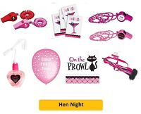 HEN NIGHT / HEN PARTY (Invites/Balloons/Napkins/Confetti/Pink/Woman/Bride)