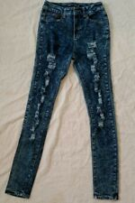 Love Culture Totally Distressed Acid Wash Skinny Fit Jeans Women's Size 5