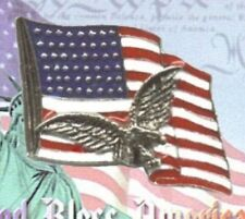 New listing Usa American Flag With Eagle Pin in Silver Plate, Great 4th of July Gift, New
