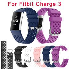 For Fitbit Charge 3 Silicone Porous Watch Band Bracelet Wrist Strap Replacement