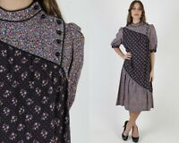 Vtg 70s Black Calico Dress Tiny Floral Country Barn Folk Tiered Tent Midi Maxi